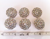 Set of 6 Rhinestone Crystal Buttons - 25mm size - Acrylic Button