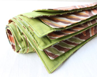 Napkins Fabric Mod Chocolate Green Set of 4 16""
