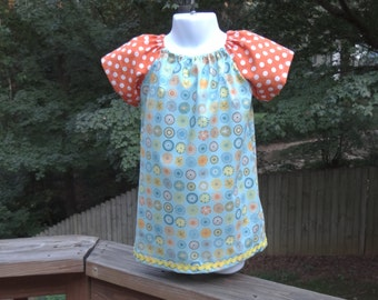 Fall Peasant Dress Orange and Turquoise, Size 2T
