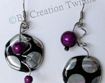 funky purple polka dot earrings, purple black silver spiral earrings,cool earrings,unique design, bridesmaids gift, asymmetrical earrings