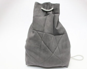 geometric backpack, vegan suede, grey