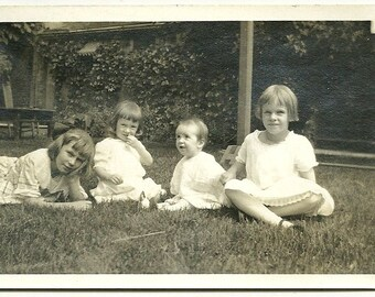 Antique Snapshot Photo Young Children Play On The Grass Vintage Photo 5066