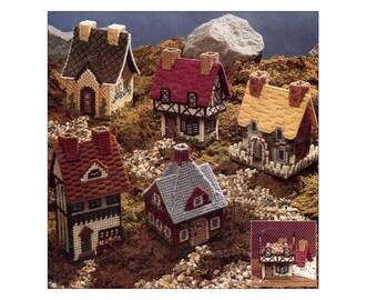 Vintage Plastic Canvas Cozy Cottages Pattern Book Tudor Elizabethan Miniature Houses Treasure Boxes Potpourri Tiny Dollhouse
