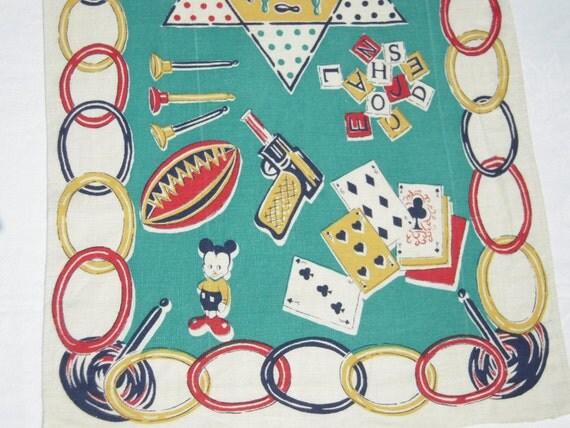 Vintage Towel or Runner Fun Kids' Games Pop Guns & Mickey Mouse