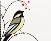 chickadee / stained glass window corner / bottom left