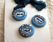 Turquoise and Ivory Organic Set of 3 Unique Lampwork Glass Buttons
