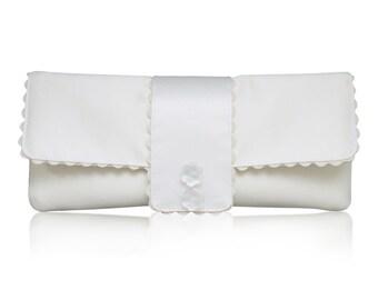 Ivory satin bridal wedding Amelia clutch purse