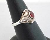 Vintage Poison Ring Size 8 Garnet Stone Sterling Silver