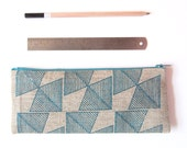 Geometry Pencil Case, Valentine's Gift for Him, College Student Gift, Teacher Gift, Blue Organic Linen Zipper Pouch
