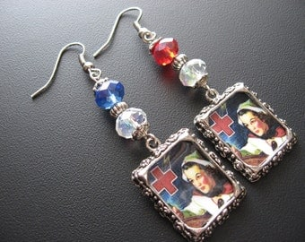 Nurse Jewelry, Nurse Earrings, Photo Charm Jewelry, Photo Charm Earrings, Red Cross Jewelry, Red Cross Earrings, Medical Jewelry