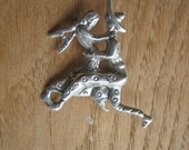 Vintage DANCING COUPLE .925 Sterling Silver Brooch
