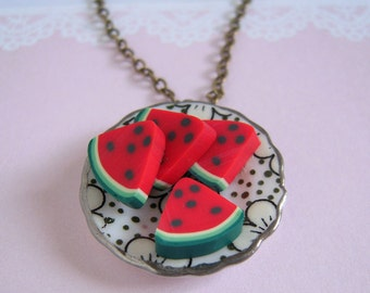 Sliced Watermelon Necklace, Miniature Clay Fruit On Plate, Antiqued Brass Chain