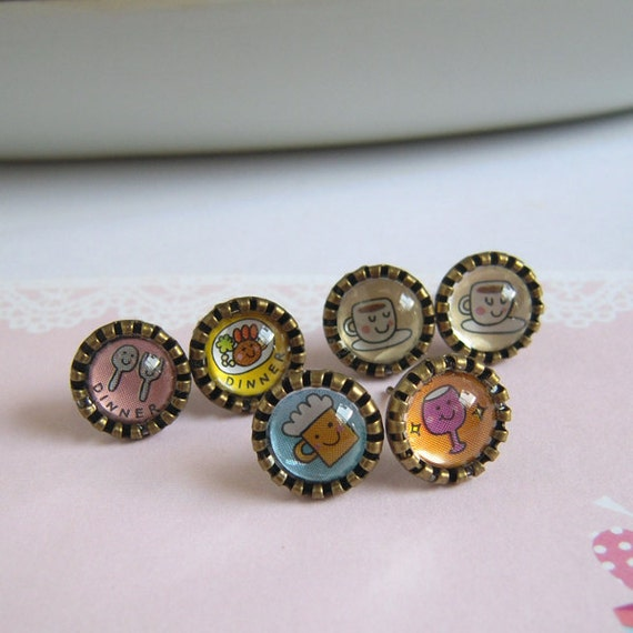Glass Dome Stud Earrings, Kawaii Picture C Dinner Drinks Coffee Pick Your Own