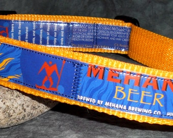 Aloha Adjustable Dog Collar from Upcycled Mehana Beer Labels