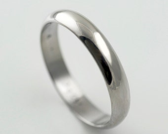 Recycled Palladium Wedding Band Simple and Polished 4mm Half Round Style