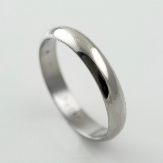 Recycled Palladium Wedding Band Simple And Polished 4mm Half