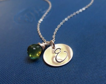 Silver Initial Necklace, Personalized Birthstone necklace, Script initial, Mothers necklace, Fancy font, Large initial