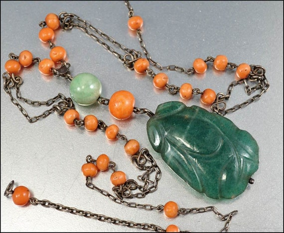 Chinese Art Deco Jade Necklace Coral Bead Silver Vintage 1920s Long Asian Antique Jewelry