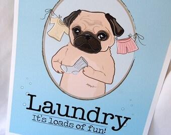 Pug Laundry Print - 8x10 Eco-friendly Size