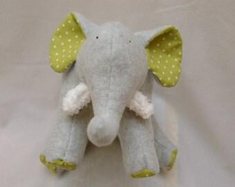 Plush Gray Fleece Elephant with light green polka dots tummy and soft chenille tusks