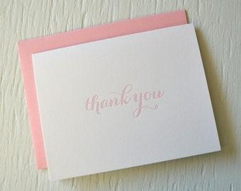 Letterpress folded thank you cards - set of 12 - light pink calligraphy font