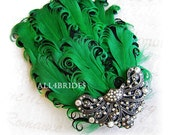 Kelly Green and Black Fascinator, Bridal Feather Fascinator Green and Black, Aurora Borealis Crystals - All4Brides