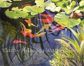 Koi fish, lily pads art watercolor painting print 12x16 by Cathy Hillegas, orange, red, yellow, green blue, purple, koi watercolor, koi art
