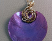 Purple Mussel Shell with 14kt Gold-filled and Sterling Silver Wire Necklace Pendant OOAK