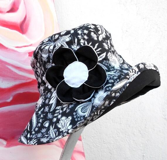 REVERSIBLE Black & White Floral Print Fabric Summer Hat ....Sun Hat.....