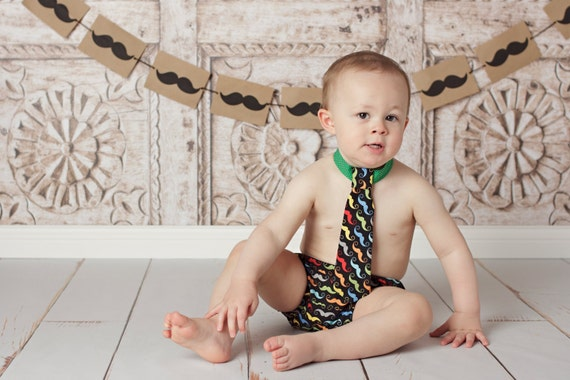 Baby Boys Birthday Outfit..First Birthday..Cake Smash..Tie and Diaper Cover..Mustache