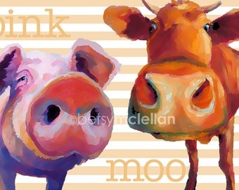 Pig & Cow - Graphic Style - Paper - Canvas - Wood Block