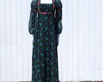 Vintage 1970's Dress * Voile * Hippie *  Bohemian *  Princess Style * Maxi Boho Dress *