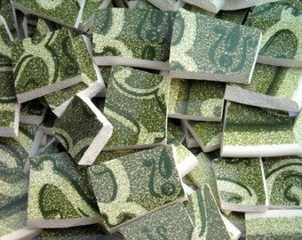 Vintage Green Mosaic Tiles cut From Saucers Aug304