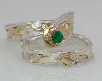 Emerald his and hers wedding set, 3 Collage Rings