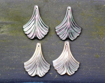"Pair Mother of Pearl Ginko Leaf Earrings 1 3/16"" 30mm Tassles"