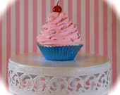 "Fake Pink Cupcake ""So Sweet Collection"" Pink Frosted Blue Metallic Cupcake Liner Standard Size Approx. 4.25""h Fab Costume Decor"