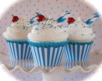 "Fake Cupcake Retro Inspired (1) ""Big Top Birthday Collection""  Blue and White Striped Fab for Birthday Party Decor"