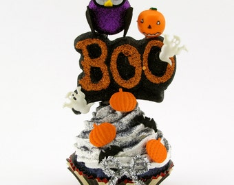 Bat Ghost and Pumpkin Boo Fake Cupcake SALE or Halloween Home Decor Halloween Cupcake Photo Prop
