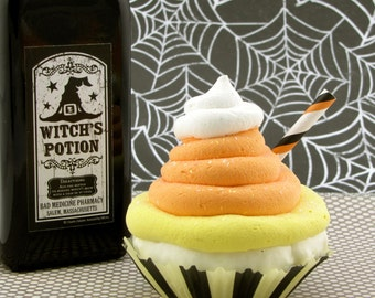 """Candy Corn Fake Cupcake with Black Cat Design """"Candy Corn Collection"""" Fab Autumn Decor or Photo Prop Can Be Business Card Holder"""