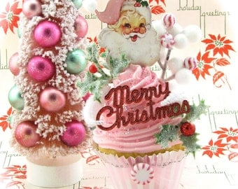 Pink Santa Fake Cupcake Holiday Decor w/Vintage Santa Image Merry Christmas Sign & Peppermints Can Be Made Into Ornament Fab Holiday Decor