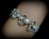 Pearl Bridal Bracelet, Victorian Wedding Bracelet, Swarovski Crystal Bracelet, Damask Wedding Jewelry, Fleur De Lis Bridal Jewelry, FLEURE