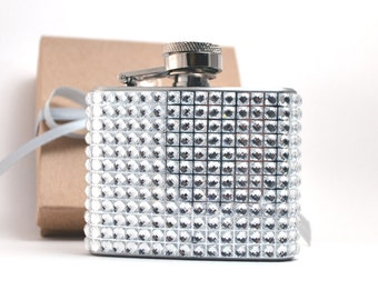 Rhinestone Covered 2 oz Flask - Great Bridesmaid Gift - Six Colors Available
