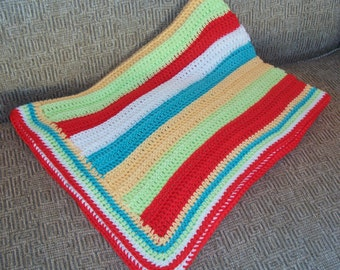 Crocheted Cotton Baby Blanket or Lap Blanket, Bright Circus Stripes, Crib Blanket, Made in America