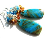 FREE SHIPPING, Blue Opal Earrings, Cluster Earrings, Peru Opal, Peacock Apatite, Orange Mandarin Garnet, Sterling Silver, Luxe Handmade Gift