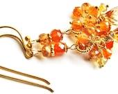 SALE, Sparkly Orange Quartz Teardrop Earrings, Multi Gemstone Cluster Earrings, Gold Vermeil Earrings, Holiday Gift For Her, Ready To Ship