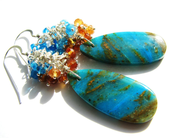 blue opal earrings sale 25 off natural peruvian gemstone. Black Bedroom Furniture Sets. Home Design Ideas
