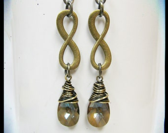 Antique Brass and Bronze Swarovski Crystal Infinity Earrings
