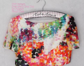 Crop Top PDF Multisize Boat neck blouse. UK size  10 - 18 (US 6 - 14) Easy Sewing Pattern. Short Sleeves Prints A4 or Letter