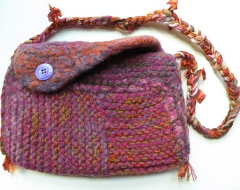Felt handbag purse shoulder bag, felted wool Bohemian bag purple brown gold pink rustic hippie boho autumn Life's an Expedition i892