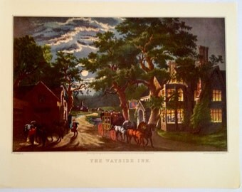 The Wayside Inn at Night 1952 Currier & Ives Print 11 x 15 1800s Book Reprint to Frame